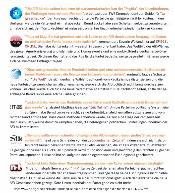 Diffamierung der AFD in den Medien 2015