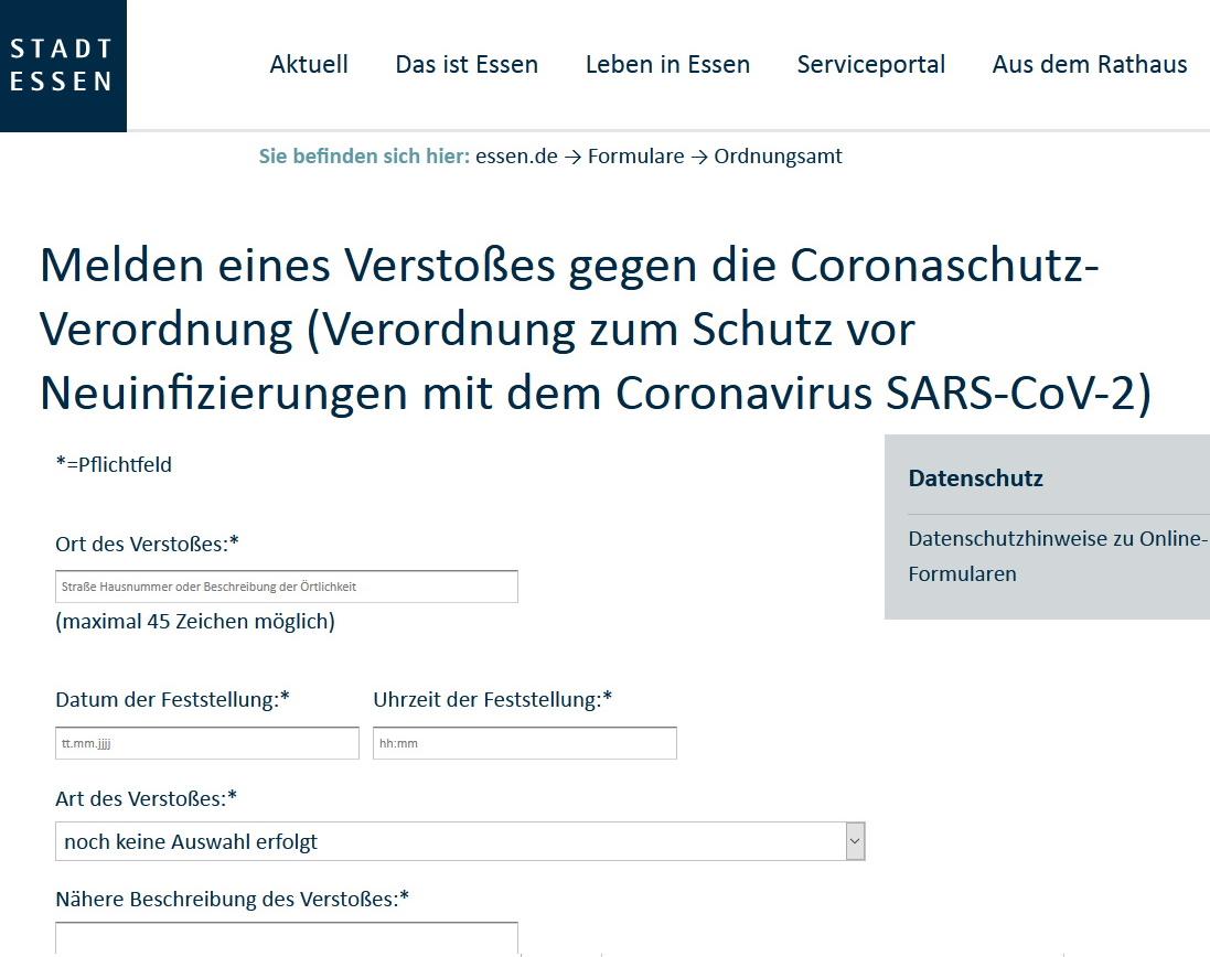 Corona Anzeigenformular Stadt Essen