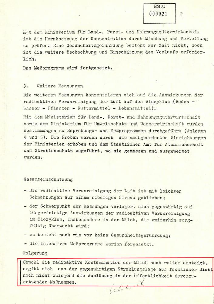 02 Bericht zur radioaktiven Strahlenbelastung in der DDR nach dem Reaktorunglück in Tschernobyl
