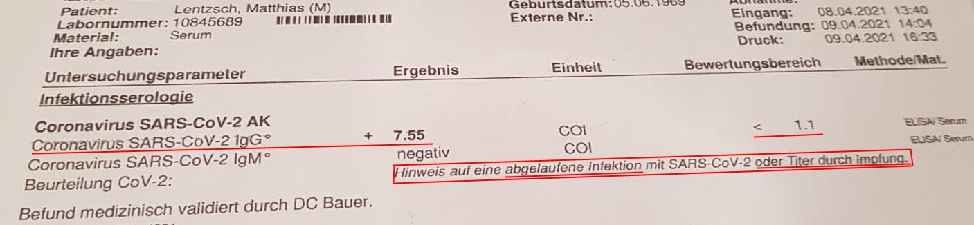 Antikörpertest Matze 09.04.21